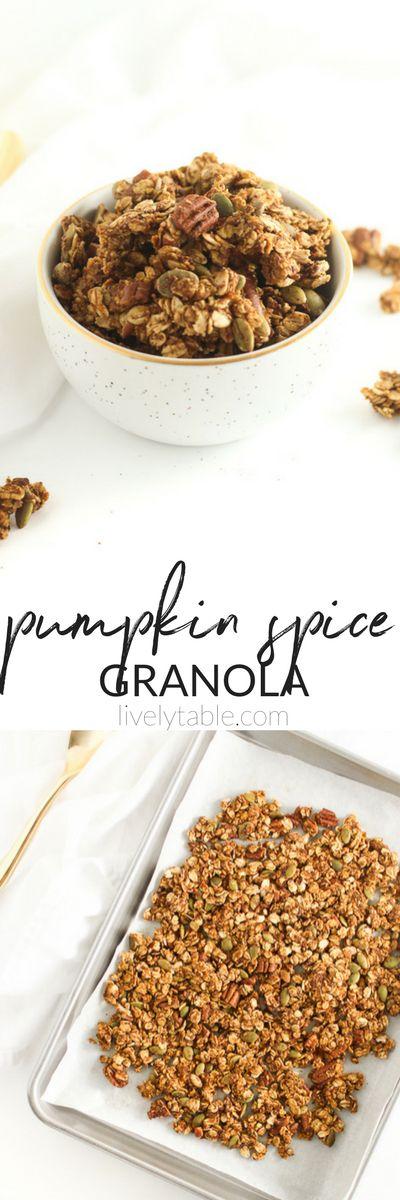 Healthy Pumpkin Spice Granola is the perfect fall snack or breakfast! (#glutenfree, #vegan, #refinedsugarfree)   #pumpkin #granola #fall   via livelytable.com