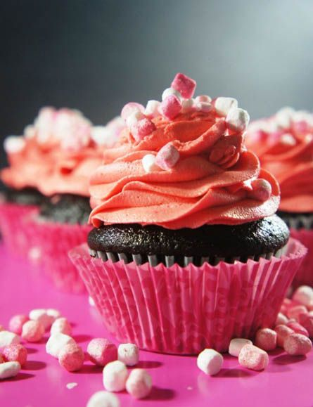 Dark Chocolate Cupcake with Cherry Vanilla Frosting: Cupcakes Muffins, Domestic Goddess, Sweet, Chocolates, Cup Cake, Dark Chocolate Cupcakes, Vanilla Frosting, Cherries