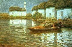 Case di pescatori, Sartorelli  Francesco, olio su cartone,cm.59x93,1911 ca.