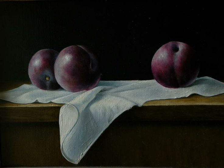 "https://www.facebook.com/MiaFeigelson ""Still life with plums"" [Sold] By Erik Zwaga, from Ulft, Netherlands (b. 1960) - oil painting - http://www.erikzwaga.nl/"