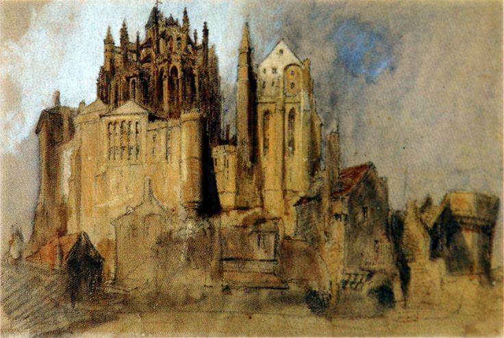 John Ruskin, La Merveille, Mont St Michel, Normandy, 1848.  Pencil, watercolour and bodycolour.