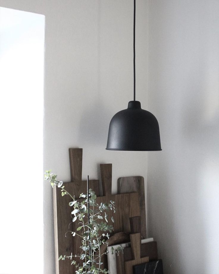 Via mikkel dahlstroem muuto grain lamp in black kitchen