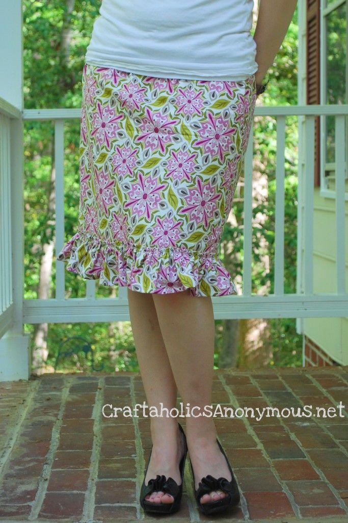 Ruffle skirt tutorial by Linda via http://www.craftaholicsanonymous.net/easy-ruffled-skirt-tutorial