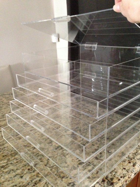 Clear Cube Acrylic Makeup Organizer Drawers  by AcrylicOrganizers, $169.00
