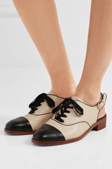 Heel measures approximately 25mm/ 1 inch Ivory and black leather Buckle-fastening slingback strap, lace-up front