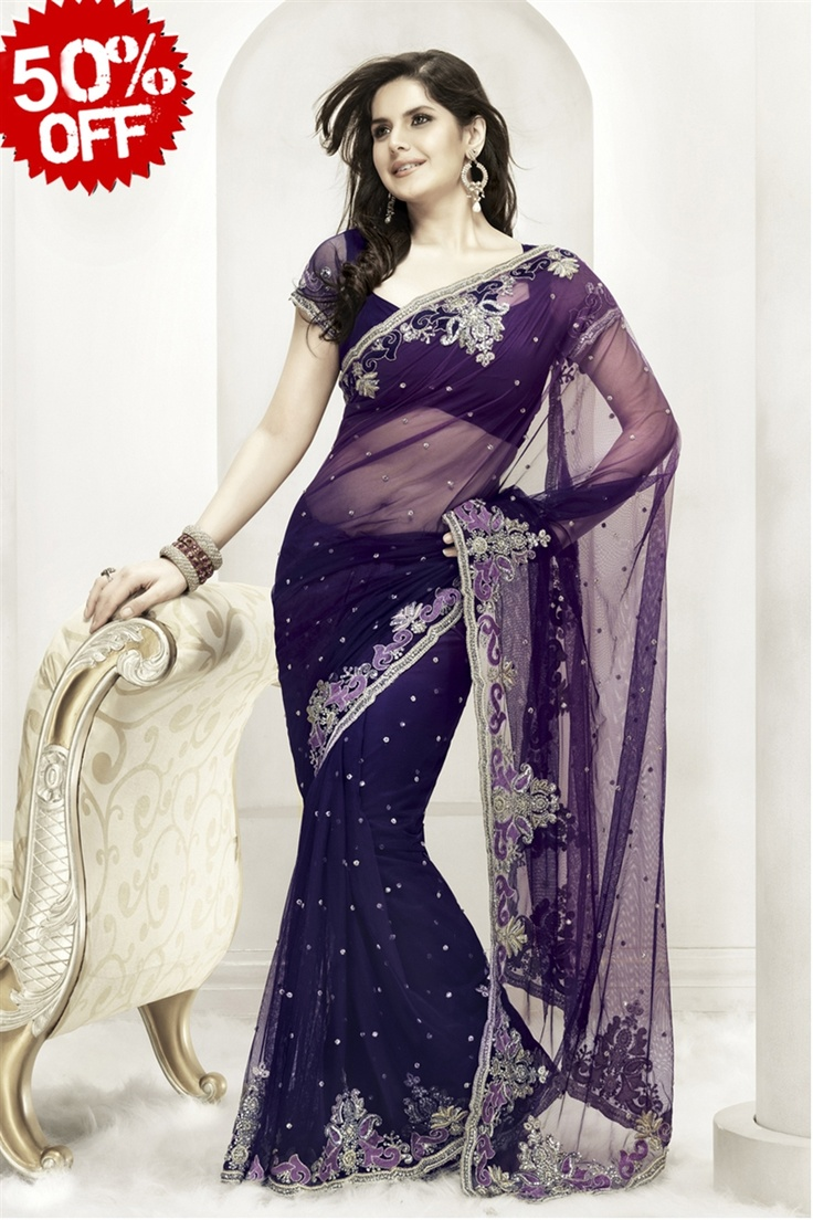 Shaded purple saree in net with floral look