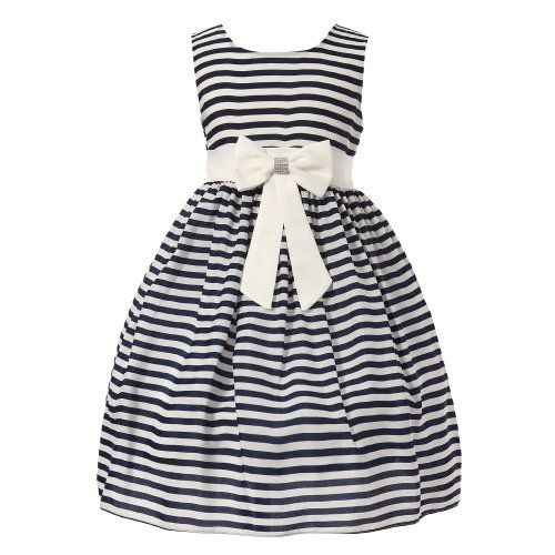 Nautical flower girl dress....Richie House Girl's Blue and White Striped Dress with Bow