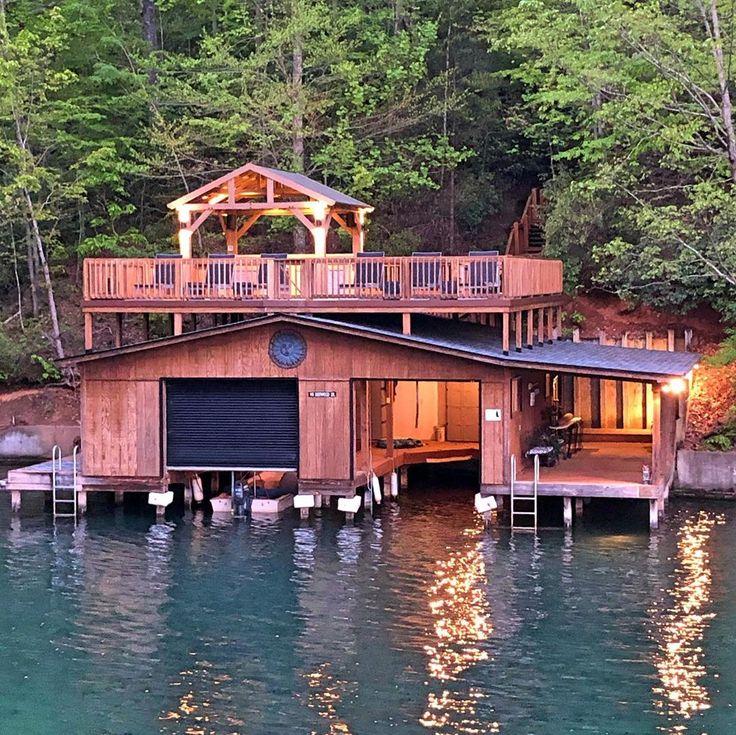 Boathouse in 2020 cedar homes house boat lake lure