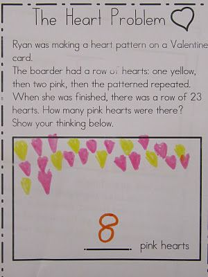 Kindergarten valentines day math worksheet