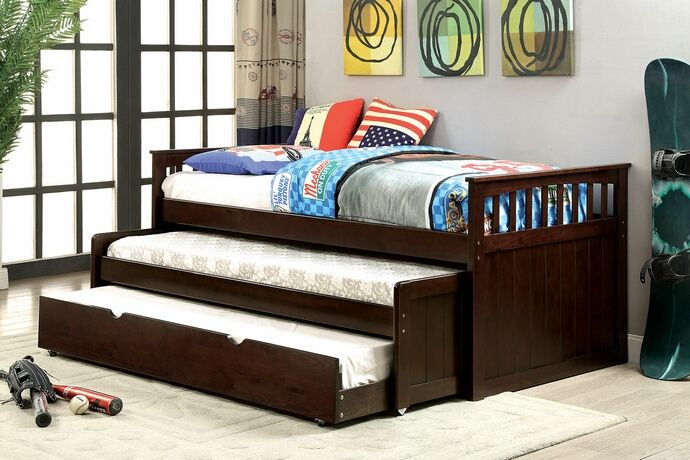 """Gartel collection dark walnut finish wood frame day bed with double pull out trundle.  Day bed measures 81 1/4"""" x 43 1/2"""" x 35 3/8"""" H.  Features a nesting trundle , two trundles under the top bed.  Some assembly required."""