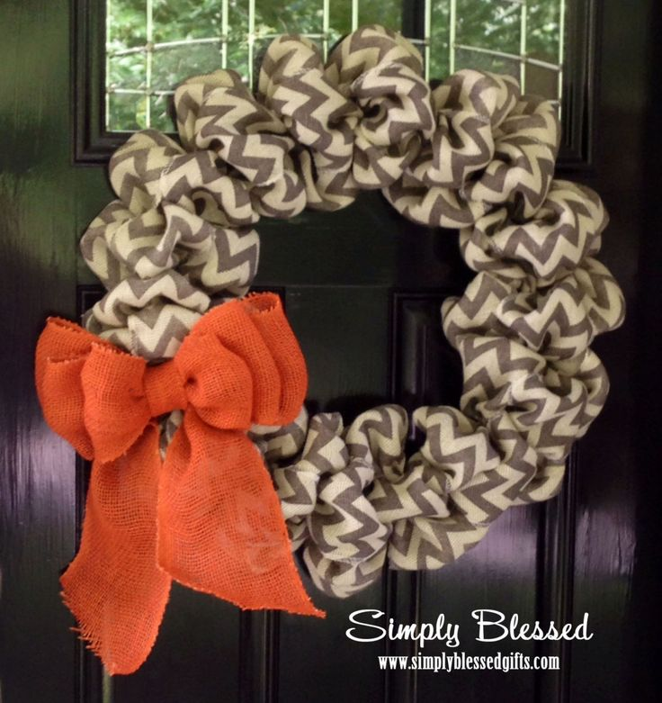 Chevron Burlap Wreath for front door or accent Orange