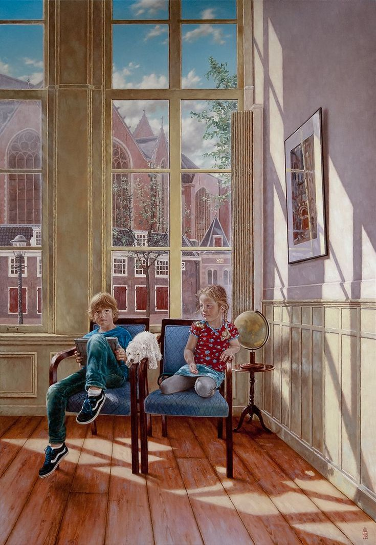 """René Tweehuysen - Mick and Fee, oil and tempera on canvas, 115x80cm, 45.3""""x 31.5"""", Amsterdam canal house. View More at: www.renetweehuysen.nl, #groepsportret #groupportrait #underpaintings #portretschilder #renetweehuysen #portret #portretkunstenaar #schilderij #portrait #officialportrait #portretopdracht #portraitcommission #olieverfportret #olieverfschilderij #portraitpainting #oilpainting #portraitart #portraitartist #painting #portretten #olieverfportretten"""