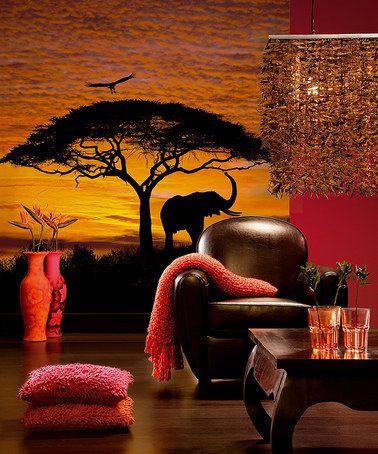 brewster home fashions african sunset wall mural. Interior Design Ideas. Home Design Ideas