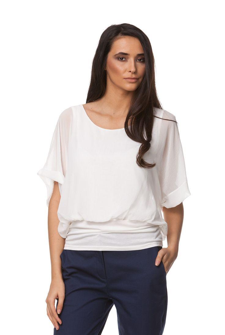 Bluza alba din matase cu maneca scurta D1904B de la Ama Fashion