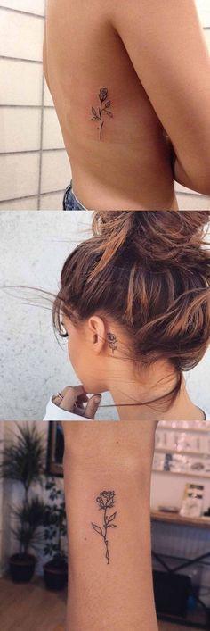 Small Flower Tattoo Ideas for Women at MyBodiAt.com - Rose Rib Back Tatt - Back of Neck Back of Ear Arm Minimal Floral Tat