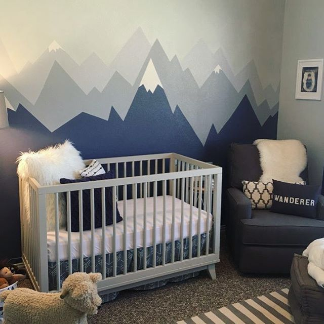 230 best 2017 nursery trends images on pinterest nursery for Baby boy mural ideas