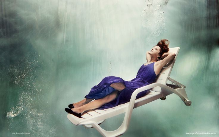 underwater, rest, deck chair