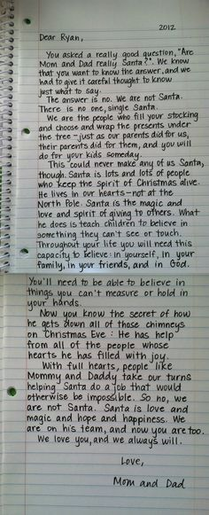 Are Mom and Dad really Santa? A lovely letter that explains it all.