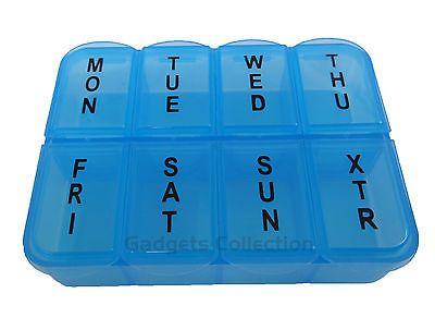 7 Day Rectangle Plastic 8 Compartments Pill Container Case Organizer Box Tray