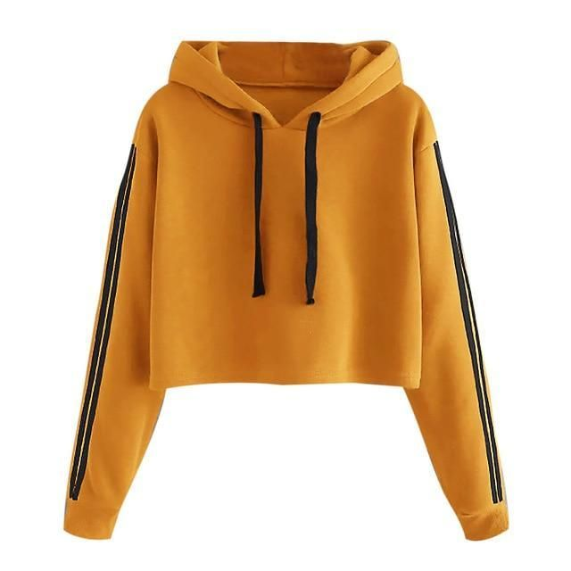 Autumn Spring Fashion Sweatshirt Women Short Striped Long Sleeve Hoodie Sweatshirt Hoodeduotelab