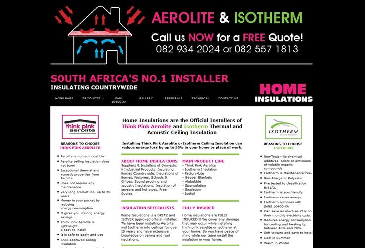 Website Design for Home Insulations. View my full portfolio at: http://www.littleblackbirddesignstudio.co.za/portfolio.html