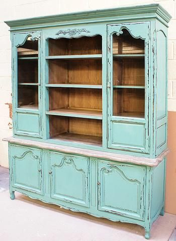 French Country Kitchen, Turquoise 3 door French Dresser