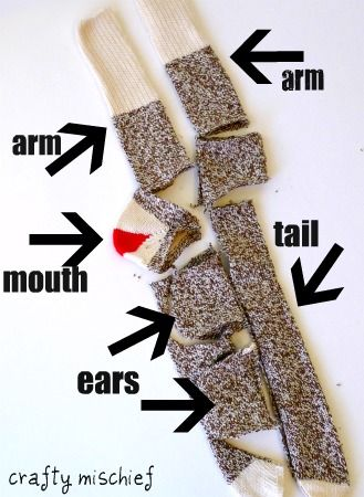 Sock Monkey Tutorial by Crafty Mischief