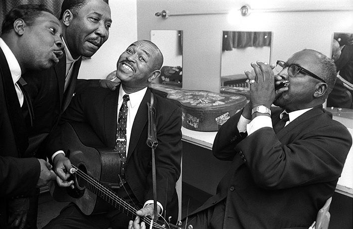 """suntfelix: """" Otis Spann, Muddy Waters, Sonny Terry and Brownie McGee (Waters was one of the first stars on Chess Records, the label that provided much of the soundtrack to 1950s Black America) ♡♥ """""""