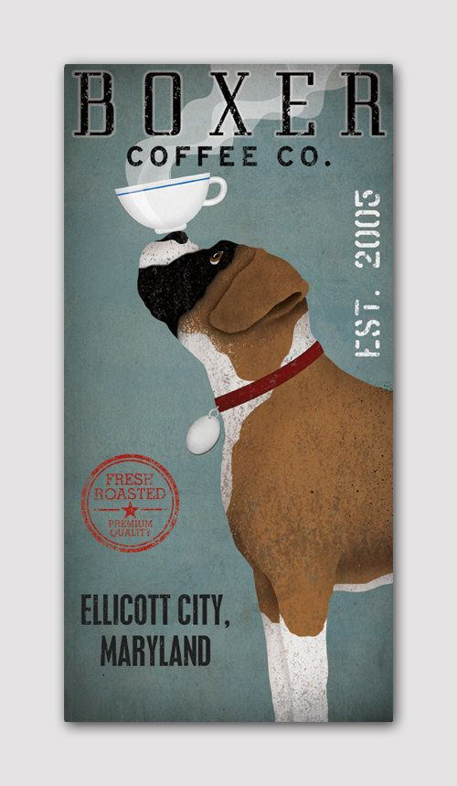 PERSONALIZED Customized BOXER  Dog Coffee Co   by nativevermont, $125.00