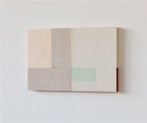 Jane Bustin, Tablet IV, 2014, Acrylic, gesso, paper, wood 20 x 24.5 cm