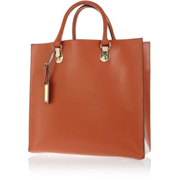 River Island Rust leather hard tote bag ($49) ❤ liked on Polyvore featuring bags, handbags, tote bags, sale, handbags totes, leather tote bags, genuine leather tote, brown leather purse and leather tote