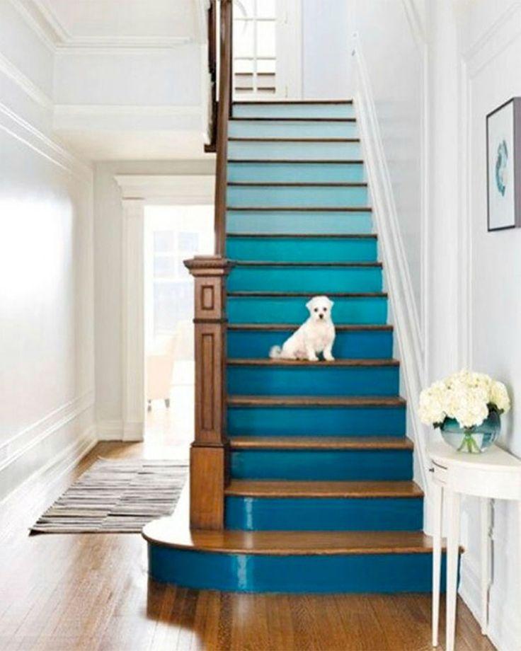 Escalier aux contremarches peintes dans un dégradé de bleu