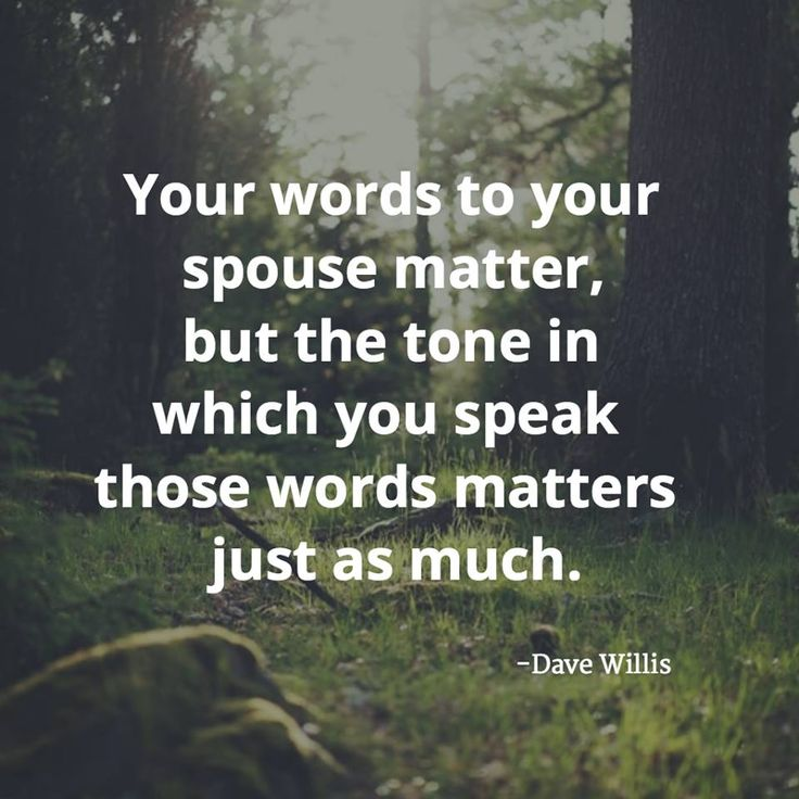 Your Words to your spouse matter, but the tone in which you speak those words matters just as much. -Dave Willis