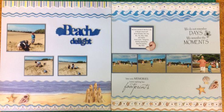Double page layout.  Mother's Day at the beach.