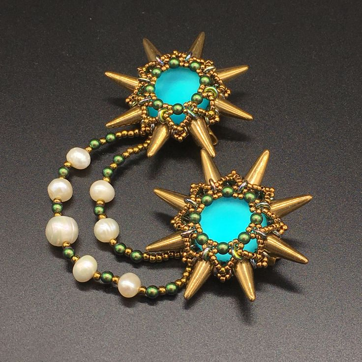 jewelry set, OPEN SPACE, brooch and earrings, beaded earrings, beaded brooch, spikes, spike jewelry by Sjamgal on Etsy https://www.etsy.com/listing/513393361/jewelry-set-open-space-brooch-and