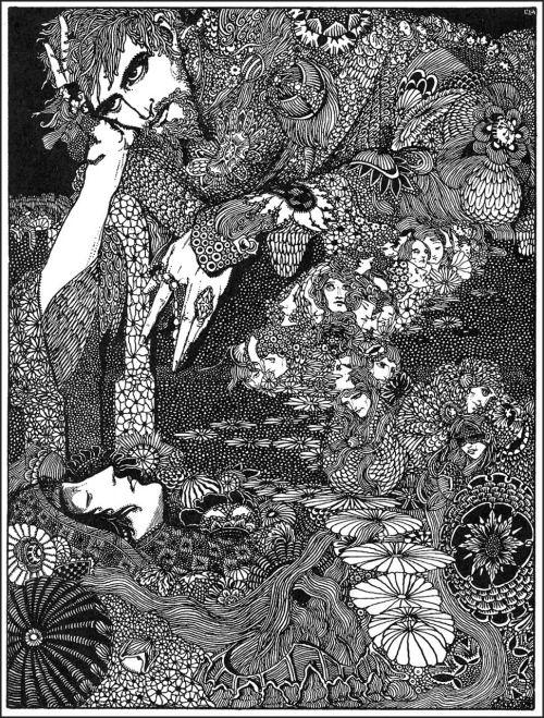 """Земля потемнела, а ее фигуры прошли мимо меня, как мелькающих теней, и среди них всех я видел только-Морелла.  Гарри Кларк, Иллюстрация к """"Морелла"""" от Рассказов Эдгара Аллана тайны и воображения, 1923 (источник)."""