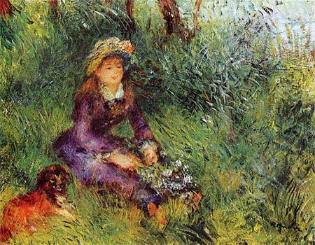 Madame Renoir with a Dog by Pierre-Auguste Renoir