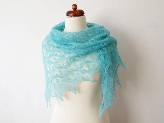 mint mohair scarf handknit lace shawl gift for her bridal
