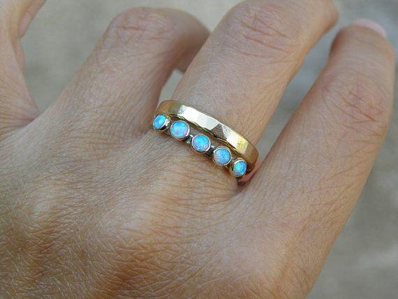 Azul ópalo anillo joyería fina apilado fina 14k por OritNaar