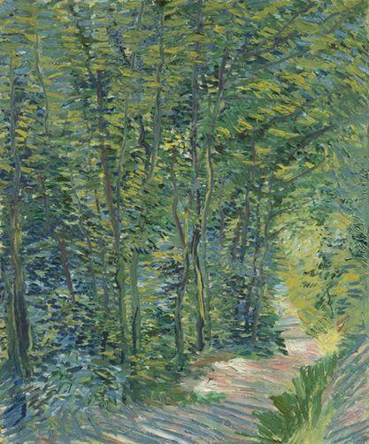 Van Gogh, Path in the Woods, Summer 1887. Oil on canvas, 46.0 x 38.5 cm. Van Gogh Museum, Amsterdam. 10367746_756196314446180_8066794667336229456_n.jpg (417×502)