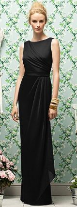 Lela Rose - high neckline long black bridesmaid dress.  This would be simple and stunning holding one long stem beautiful rose!