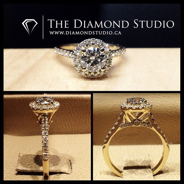 The ring was made in yellow gold. It features a .51ct round cut diamond. The diamond sits on a round italian pave halo. The shank was also made with diamonds in an Italian pave setting. The gallery I incorporated diamonds on the forks as well the bridge and i personalized it with their initials. #diamond #diamonds #wedding #weddings #engagement #ring #rings #bride #brides #jewellery #jewelry #halo #yellow #gold #diamondboi