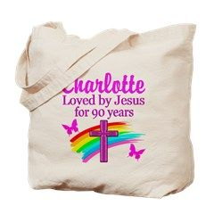 CHRISTIAN 90TH Tote Bag Spiritual and uplifting 90th birthday T Shirts and gifts for the faith filled 90 year old. http://www.cafepress.com/heavenlyblessings/12705807 #90yearsold #Happy90thbirthday #90thbirthdaygift #Christian90th #happy90th #Personalized90th #90thprayer