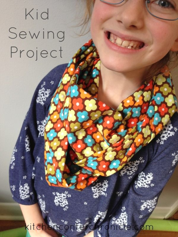 Simple kid sewing project - a spring infinity scarf. Step-by-step instructions included.