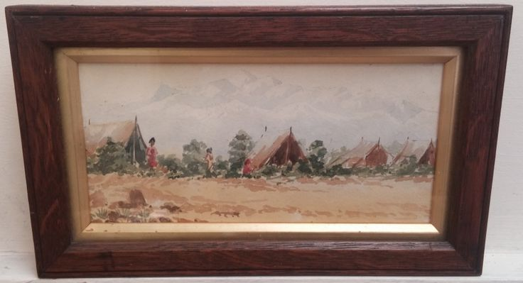 Original watercolour. Framed size measures 10 inches x 6 inches.