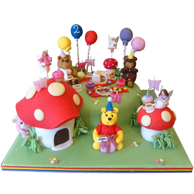 Round Cake With Teddy Bear Picnic Fondant