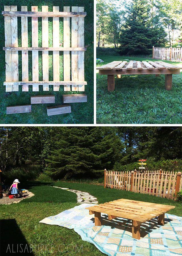 Table basse en palette pour le jardin très facile -  pallet table