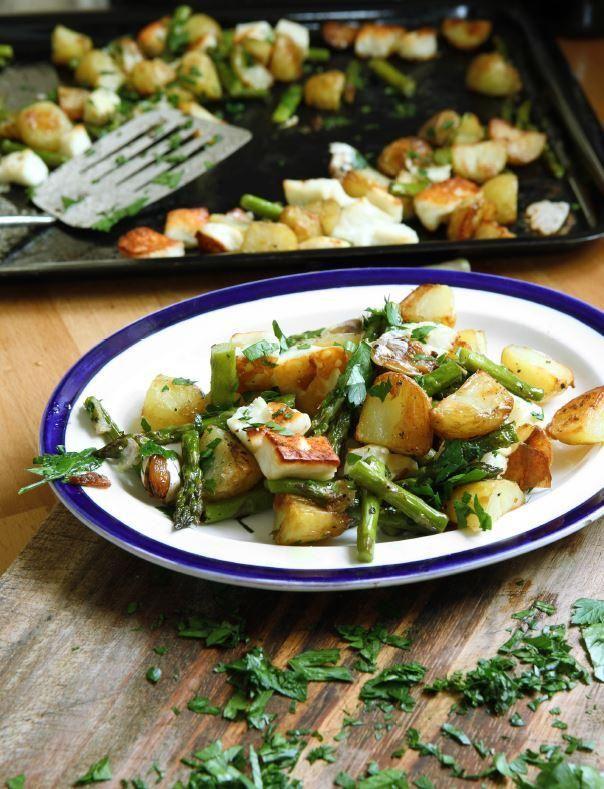 Asparagus, new potatoes, halloumi