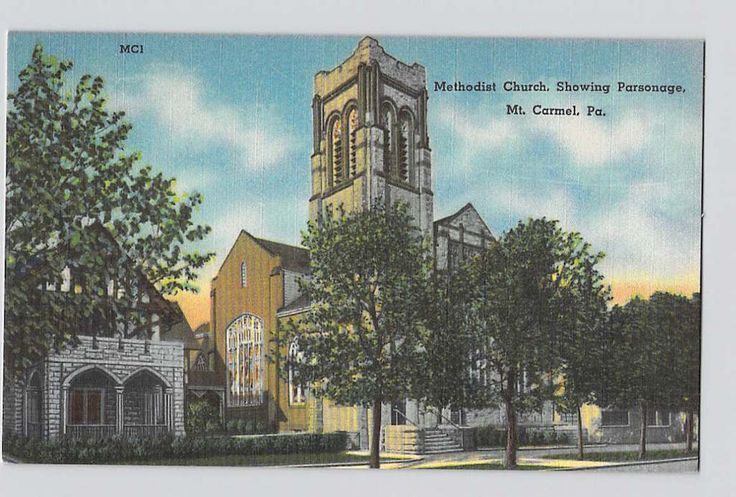 Mt Carmel, Pennsylvania, PA, Methodist Church showing Parsonage 1940s, Linen Postcard