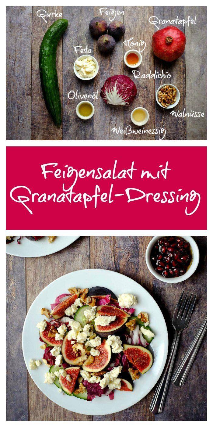 Feigensalat mit Feta, Walnüssen, Radicchio und Granatapfel-Dressing, schnell und lecker   Wintersalat  schnelle Vorspeise   Granatapfel   Feige